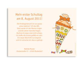 Einschulungskarte Schultüte (Postkarte) Orange