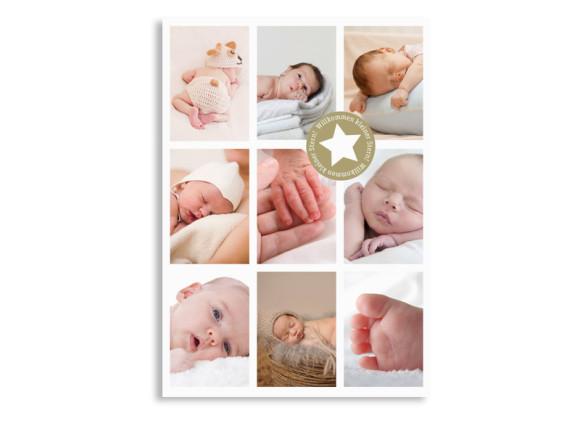 Geburtskarten Sina/Sami (Postkarte, mit 9 Fotos)