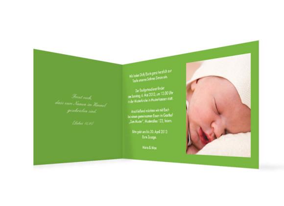 Innenansicht, Klappkarte zur Taufe (Format DIN Lang), Motiv Simone/Simon, Farbversion: grün