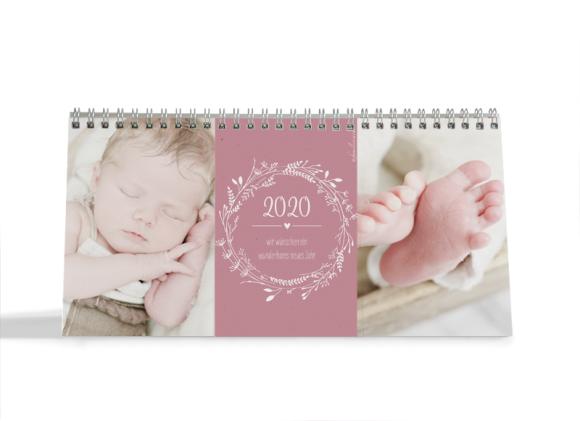 Choose your Pics Fotokalender, Motiv: Blumenkranz, Innenansicht, Farbvariante: altrosa