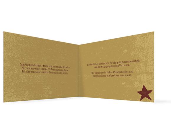 Innenansicht, Firmen-Weihnachtskarte Sterne, Farbvariante: bordeaux