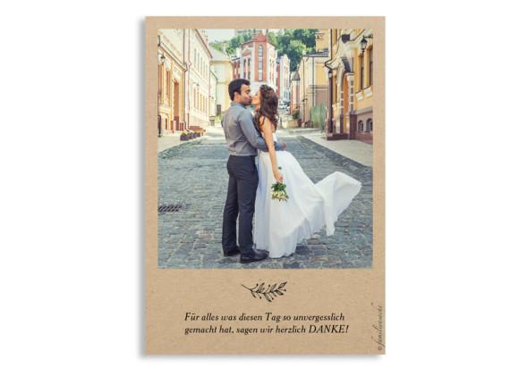 Danksagungskarten zur Hochzeit Nature, Rückseite in schwarz