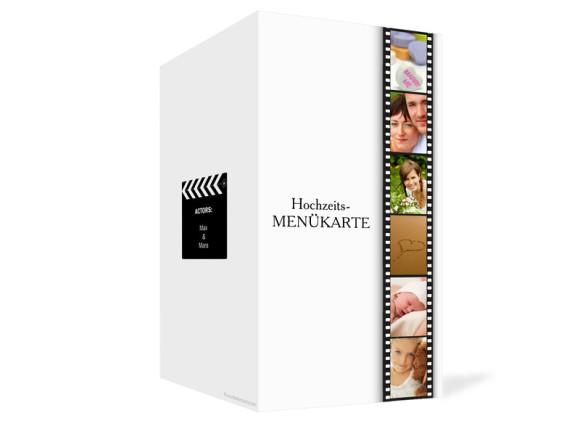 Außenansicht, Menükarte zur Hochzeit (Klappkarte), Motiv Hollywood, Farbversion: weiss