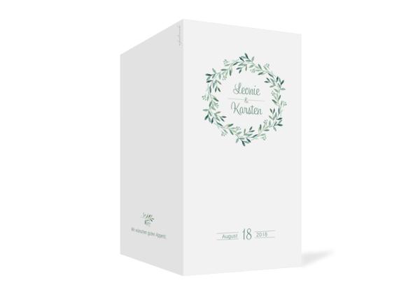 Karten zum Menü zur Hochzeit , Motiv: Blätterkranz, Aussenansicht, Farbvariante: Grün