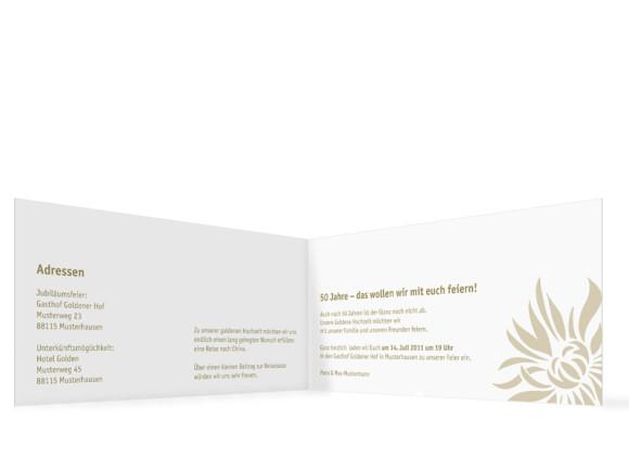 Innenansicht, Einladungskarte zur Goldenen Hochzeit (Format DIN Lang), Motiv Florenz, Farbversion: beige