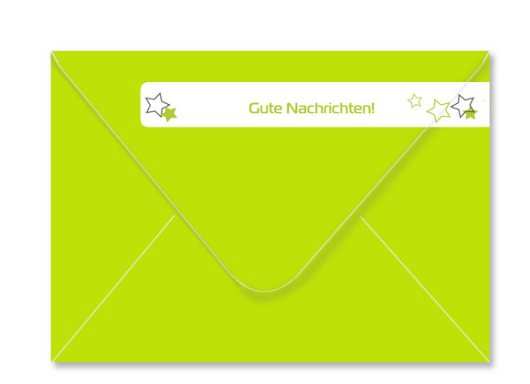 Umschlag Rückseite, Adressbanderole, Motiv Sterne, Farbversion: apfelgrün