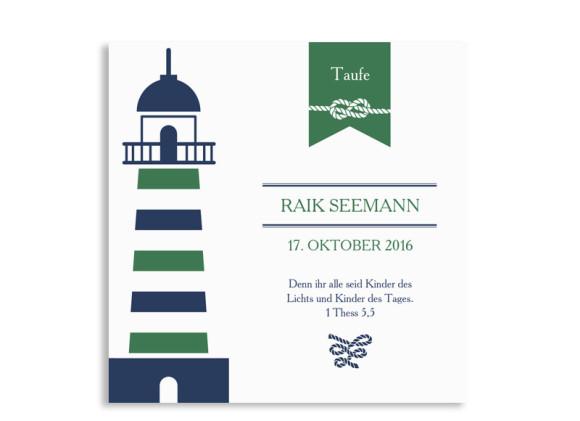 Einladungskarte zur Taufe Rike/Raik (quad. Postkarte)