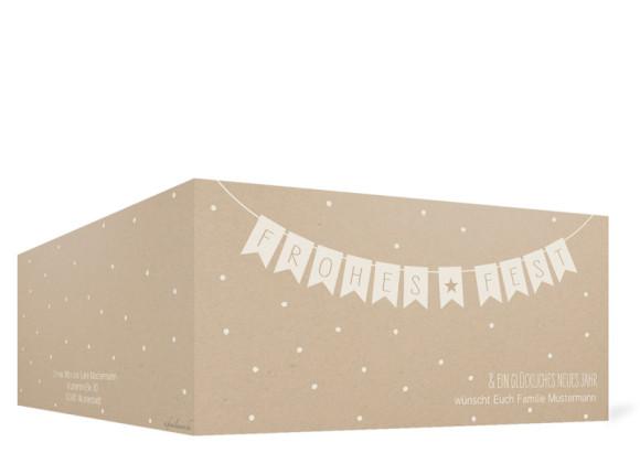 Weihnachtskarte Weihnachtskette (Klappkarte), Außenansicht in der Farbvariante: altweiß
