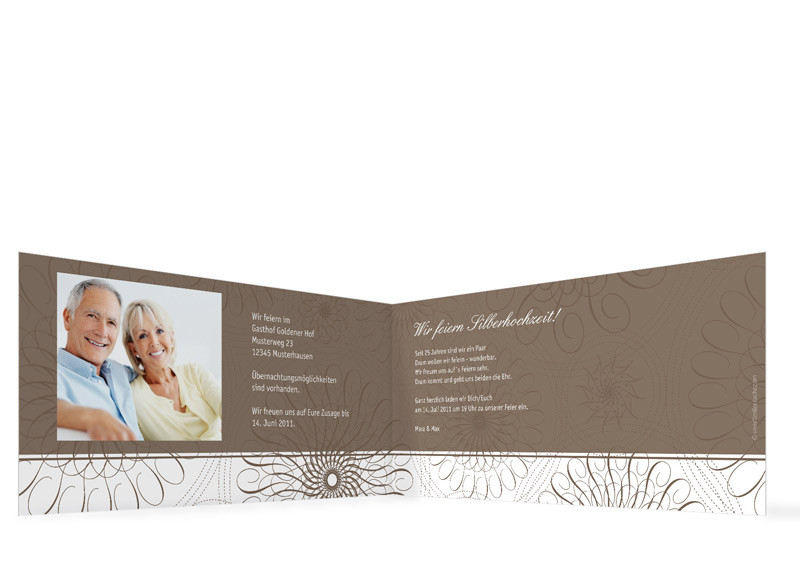 ... Innenansicht, Einladungs Klappkarte Zur Silbernen Hochzeit (Format DIN  Lang), Motiv Mandala ...