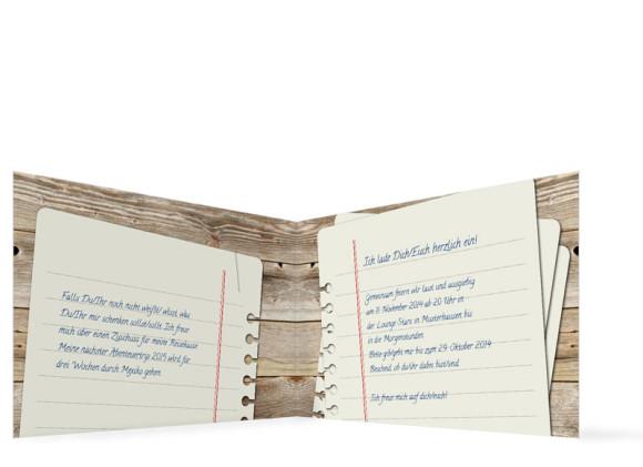 Einladungskarten Notizzettel, Innenansicht der Farbversion: braun