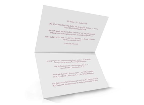 Hochzeitseinladung (Klappkarte A6, Vintage-Stil), Motiv: Gent Pure, Innenansicht, Farbvariante: altrosa