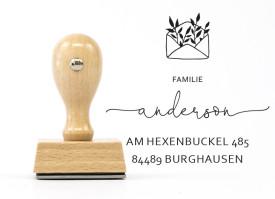 """Adressstempel """"Burghausen"""" (personalisierter Holzstempel)"""