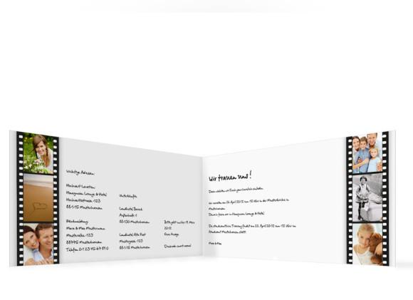 Innenansicht, Einladungs-Klappkarte zur Hochzeit (Format DIN Lang), Motiv Hollywood, Farbversion: weiss