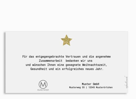 Firmen-Weihnachtskarte Copper Postkarte in gold, Rückseite
