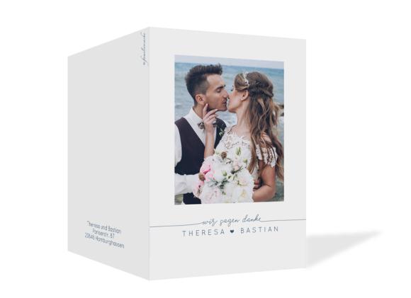 Dankeskarte zur Hochzeit als Klappkarte A6, Motiv: Warschau D, Aussenansicht, Farbvariante: dunkelblau
