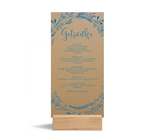 Speisekarte (Einfachkarte DIN Lang, hoch), Holzfuß optional, Motiv: Blumenkranz natural (M), Rückseite, Farbvariante: blau