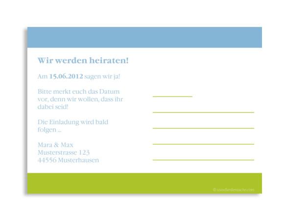 Rückseite, Einladungs-Postkarte zur Hochzeit, Motiv Rom, Farbversion: blau/grün