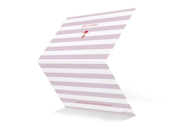 Taufkarte, Motiv Stripes Anchor, Aussenseite, Klappkarte A6, Farbversion: brombeer