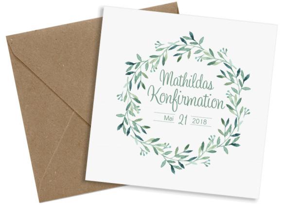 Einladung zur Konfirmation, Motiv: Blätterkranz, mit Briefhülle, Farbvariante: Grün