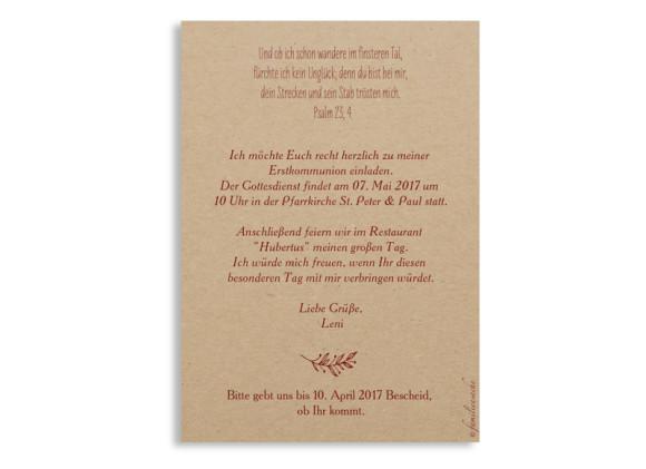 Einladung zur Kommunion (Postkarte A6), Motiv Nature, Rückseite, Farbversion: bordeaux