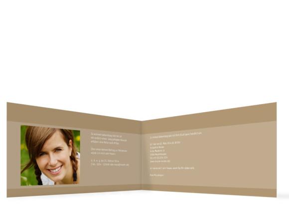 Einladungskarte, Motiv Gala, Innenansicht, Farbversion: beige