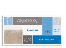 Konfirmationsdanksagungen Nora/Neo (Postkarte) Blau