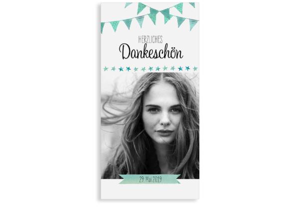 """Danksagung zur Konfirmation """"Stimmung"""" (Postkarte mit Foto)"""