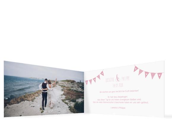 Hochzeitsdanksagung zur Hochzeit, Motiv: Malmö, Innenansicht, Farbvariante: Rosa