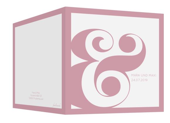 Einladungskarten Hochzeit (quadratische Klappkarte, ohne Foto), Motiv: HE Salzburg, Aussenansicht, Farbvariante: altrosa