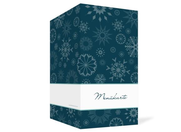 Außenansicht, Menükarte zur Hochzeit (Klappkarte), Motiv Reykjavik, Farbversion: blau