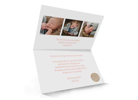 Einladungskarte Taufe, Motiv: Mare, Innenansicht, Farbvariante: apricot