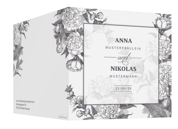 Einladungskarte Hochzeit (quadr. Klappkarte, ein Foto), Motiv: Bukarest, Aussenansicht, Farbvariante: anthrazit