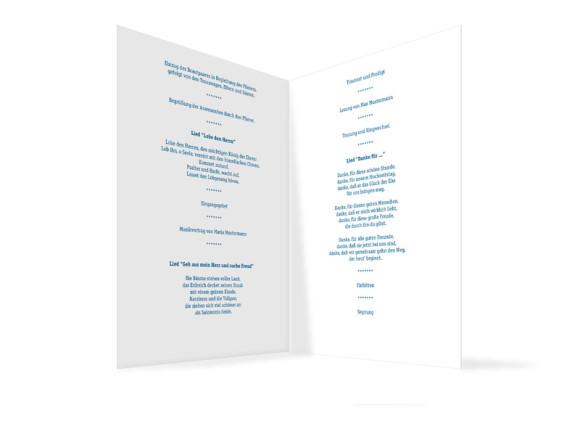Innenansicht, Klappkarte zur Hochzeit (Kirchenheft), Motiv Klassik, Farbversion: blau