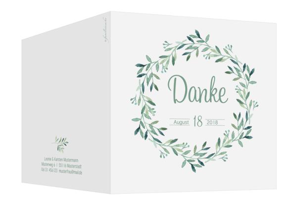 Danksagungskarte Hochzeit (Klappkarte, quadr.), Motiv: Blätterkranz, Aussenansicht, Farbvariante: gruen