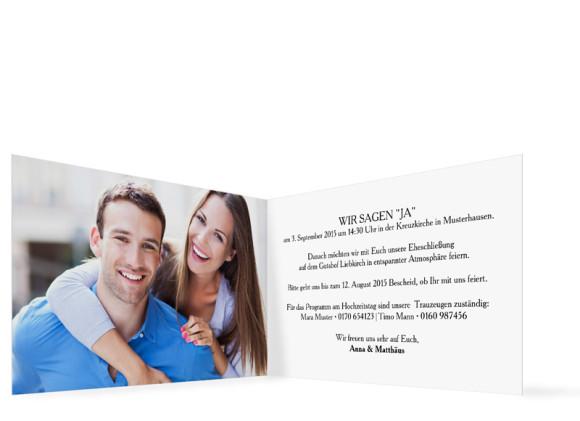 Einladungen zur Hochzeit Blanche, Innenansicht der Farbversion: weiß