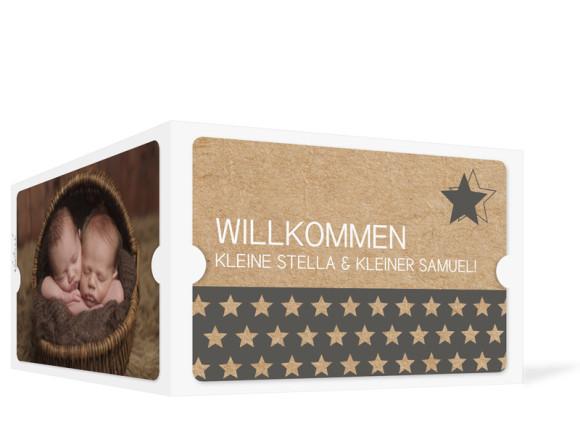 Zwillingskarte zur Geburt, Motiv Stella/Samuel, Außenansicht, Farbversion: grau