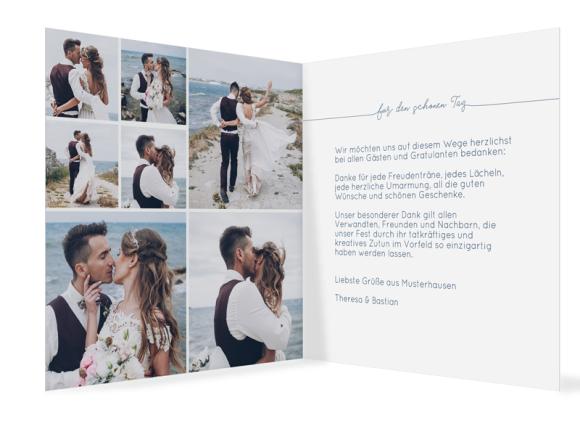 Hochzeitskarte als quadratische Klappkarte mit Fotos, Motiv: Warschau D, Innenansicht, Farbvariante: dunkelblau