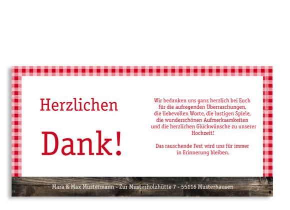 Rückseite, Danksagungs-Postkarte zur Hochzeit, Motiv Alpenglühen, Farbversion: rot