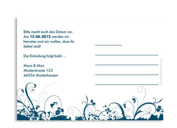 Rückseite, Einladungs-Postkarte zur Hochzeit, Motiv Miami, Farbversion: blau