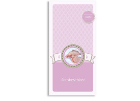 Danksagungen zur Taufe Käthe/Klaas (Postkarte) Flieder