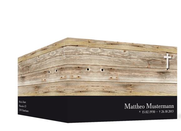Außensicht Trauerkarten Holz, Farbversion: schwarz
