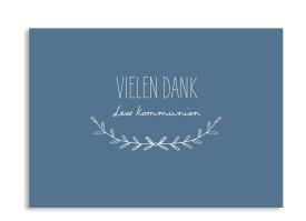 """Kommunionsdanksagungen """"Zweig"""" (Postkarte A6) dunkelblau"""