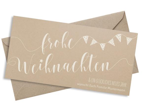 Weihnachtspostkarte Weihnachtsparty, Postkarte Din Lang quer, mit Briefumschlag in Altweiß