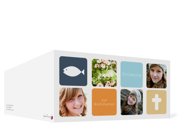Kommunionseinladung, Motiv Ava/Avery, Außenansicht, Farbversion: dunkelblau