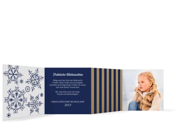 Weihnachtskarte Geometrics, innen in dunkelblau