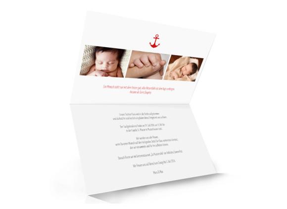Taufkarte, Motiv Stripes Anchor, Innenseite, Klappkarte A6, Farbversion: brombeer