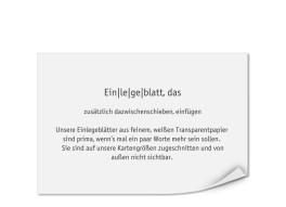 Bedruckte Einlegeblätter 149 x 103 mm (Transparentpapier)