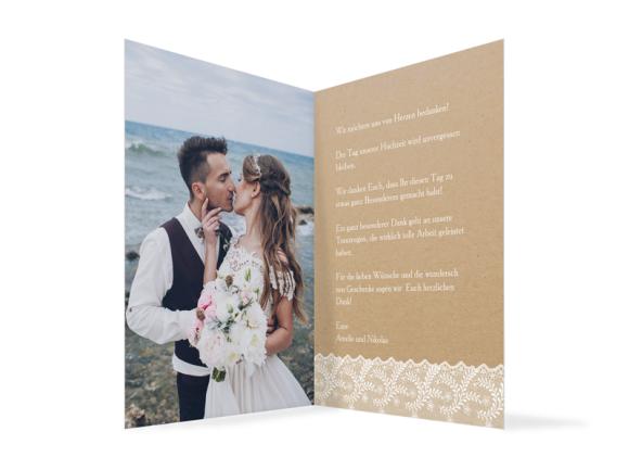 Danksagung Hochzeit (Klappkarte C6), Motiv: Gibraltar, Innenansicht, Farbvariante: weiss