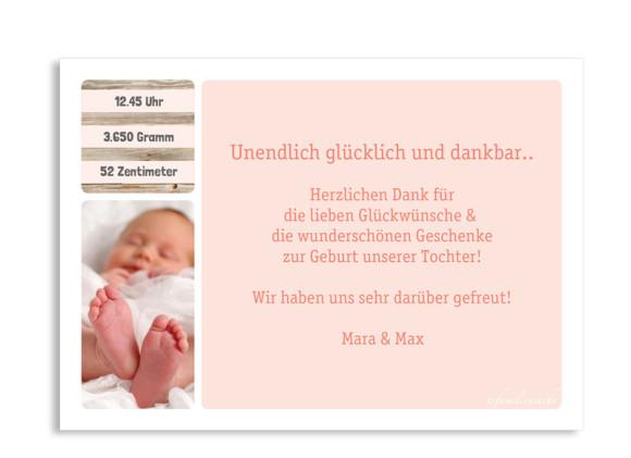 Geburtskarte (Postkarte), Motiv: Lucia/Luca, Rückseite, Farbversion: apricot