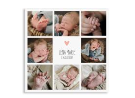 Danksagung zur Geburt Lena/Lars (quadratische Postkarte) Apricot